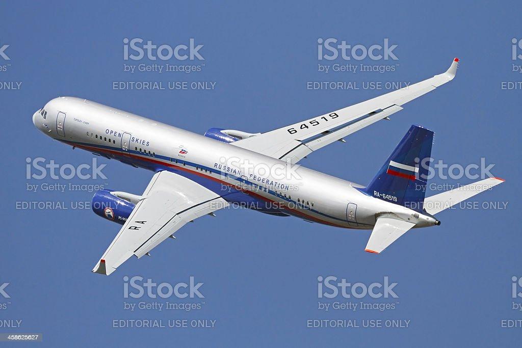 Flying Tupolev Tu-214 royalty-free stock photo