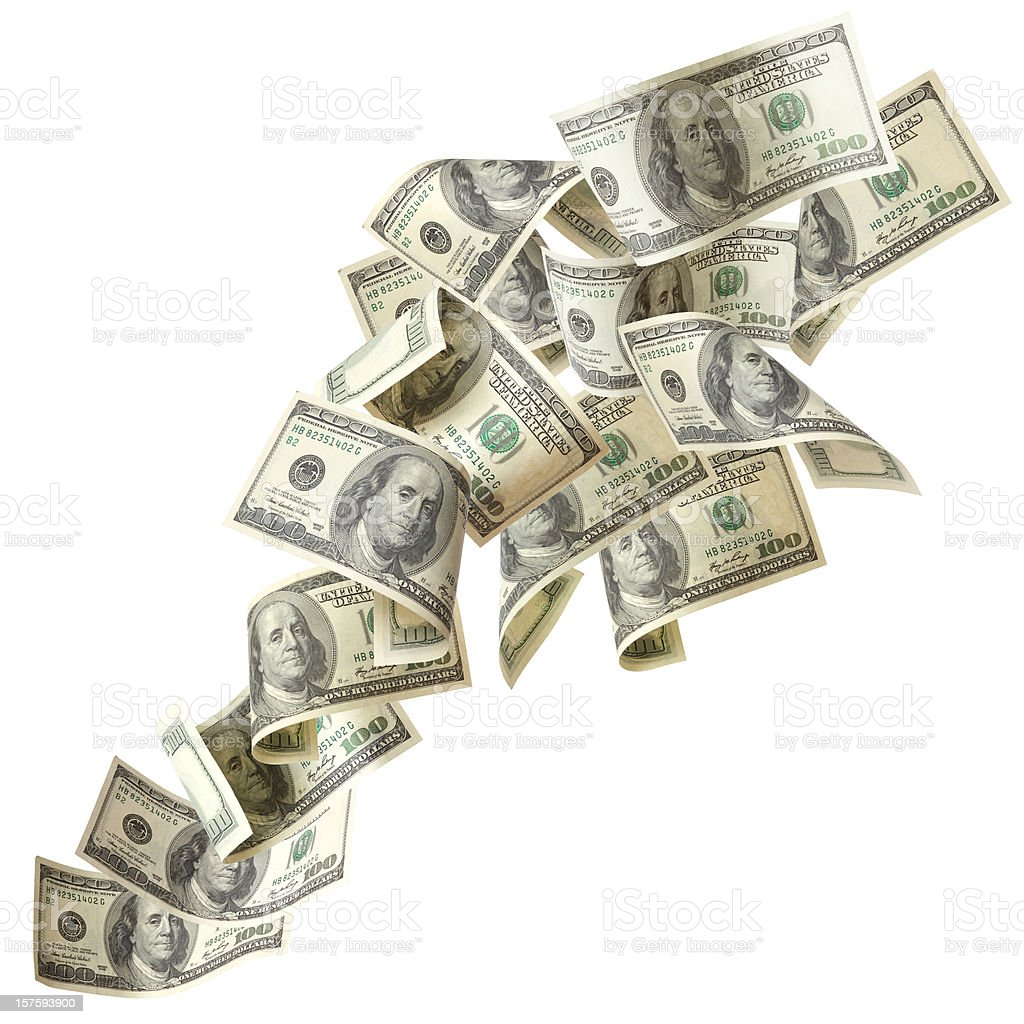 Flying US dollar bills isolated with Clipping Path stock photo
