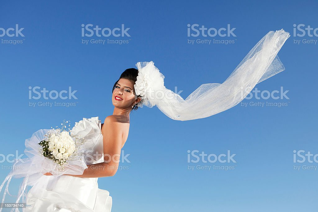 Flying Veil of Young Bride royalty-free stock photo