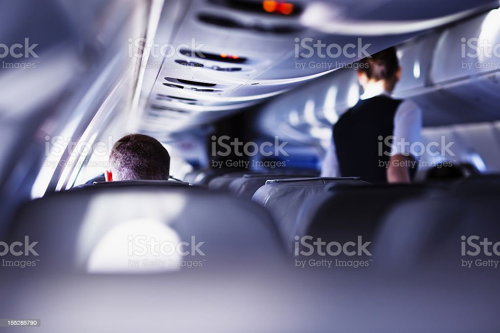 Flying with airplane stock photo