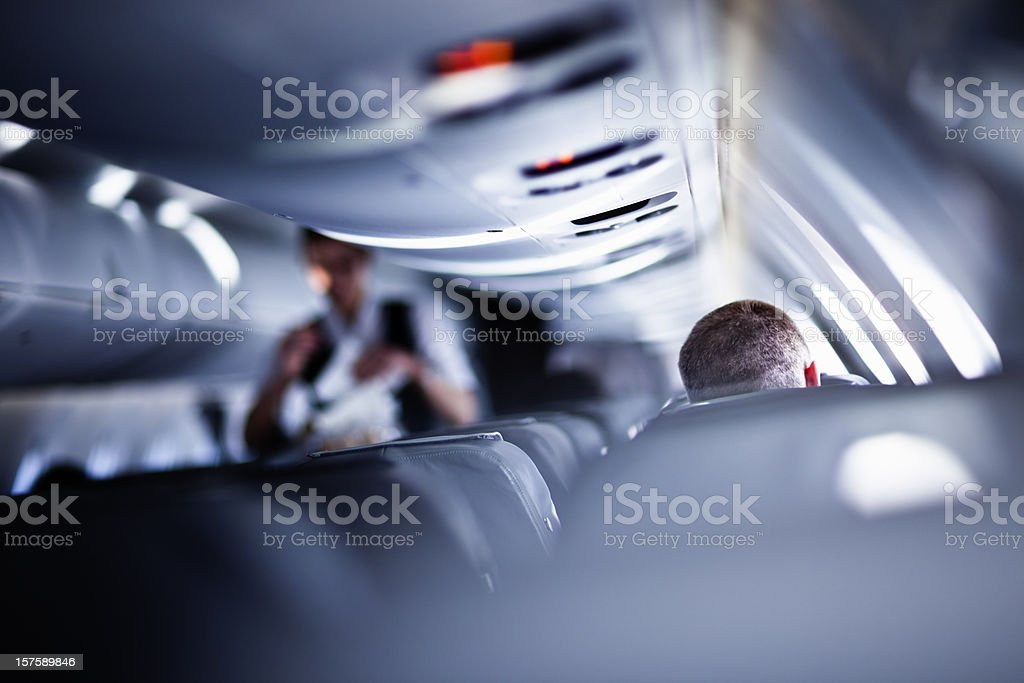 Flying with airplane royalty-free stock photo