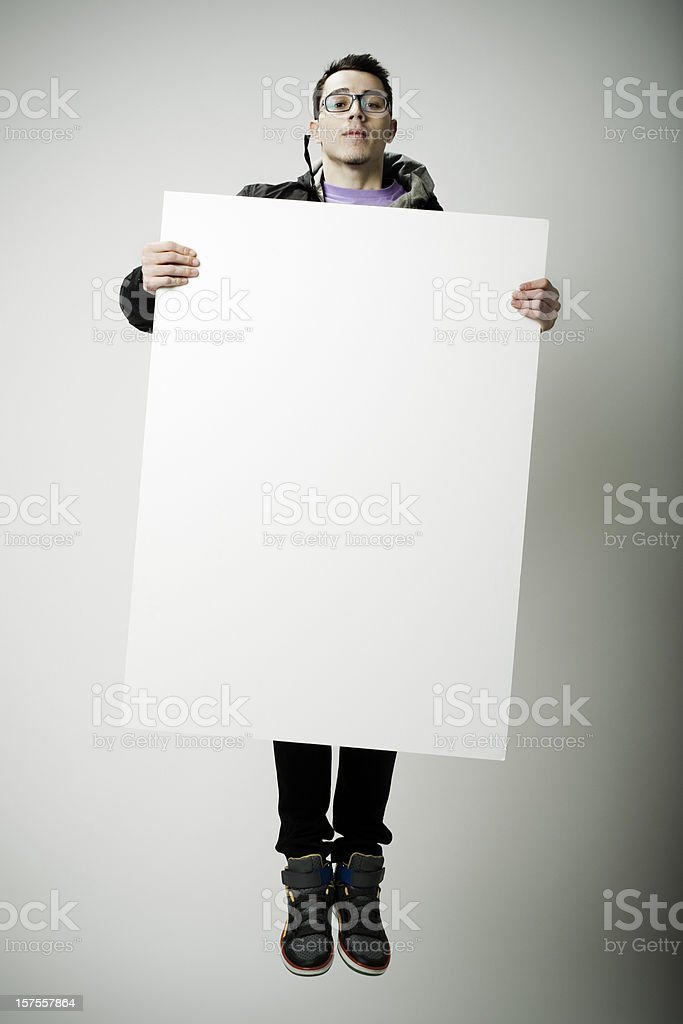 Flying with blank poster royalty-free stock photo