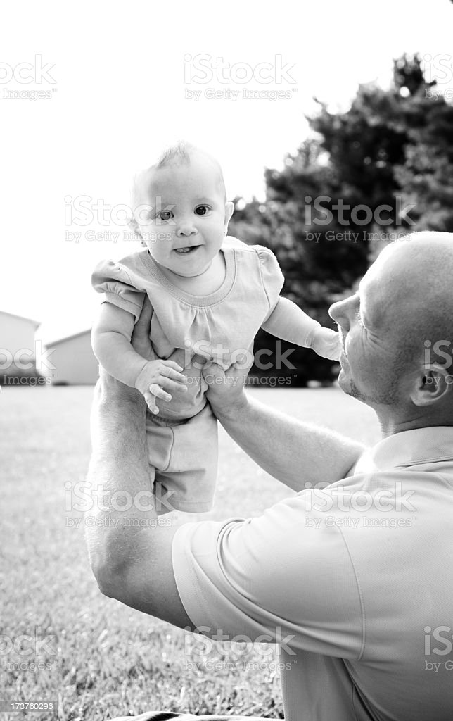 Flying with Daddy royalty-free stock photo