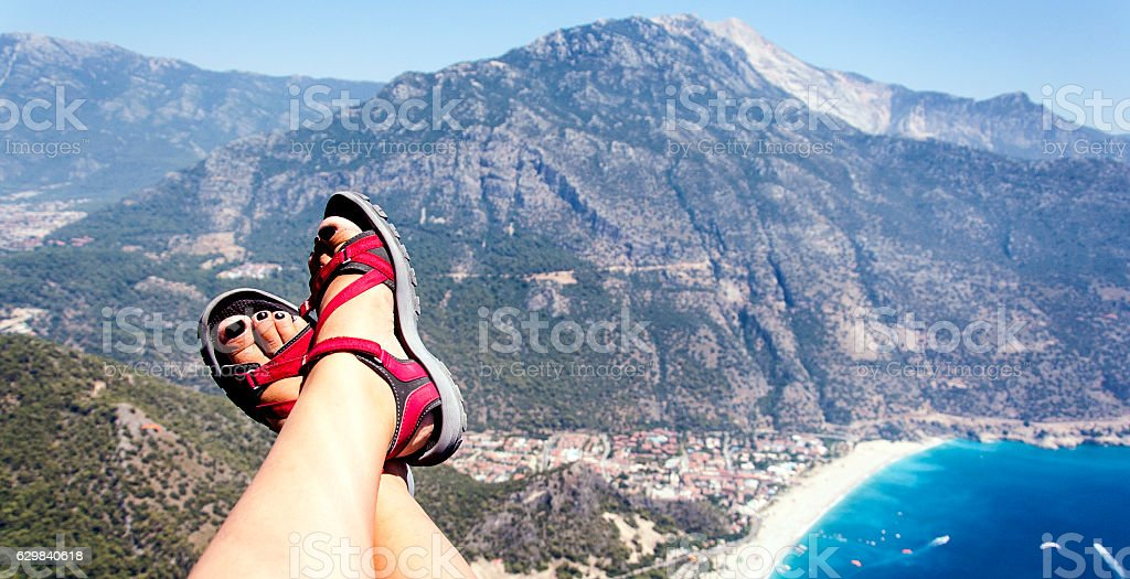 flying with paragliding stock photo