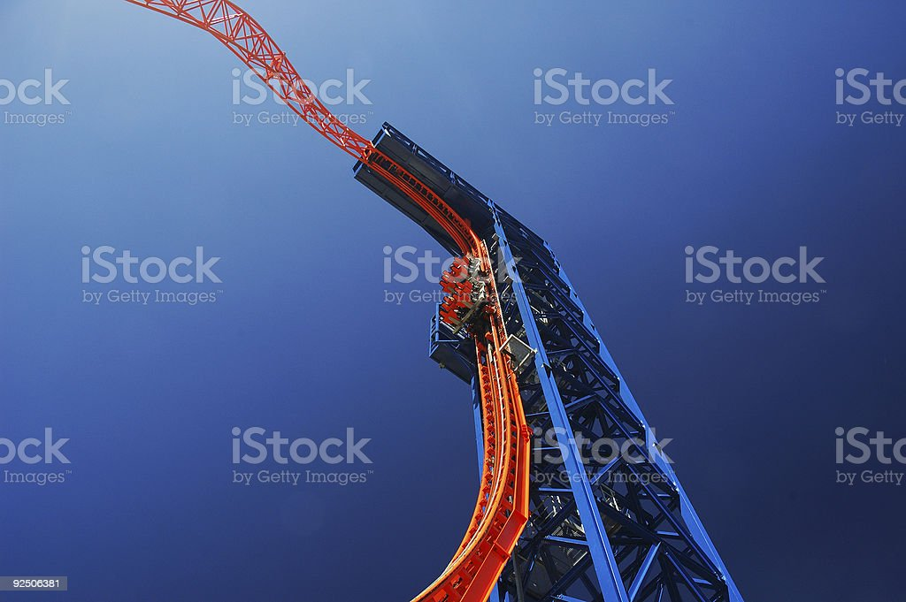 Flying with the roller coaster stock photo