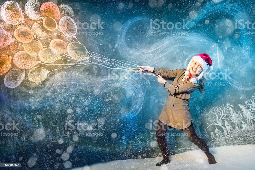 Flying With Winter Blizzard stock photo