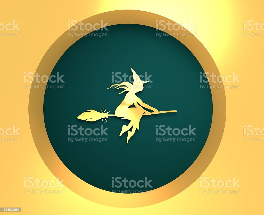 Flying young witch icon. Cutout silhouette on a broomstick stock photo