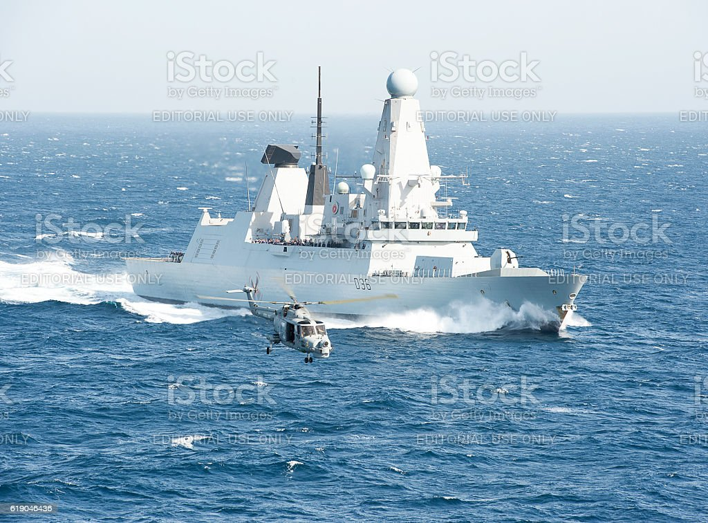 Flypast in the Arabian Sea stock photo