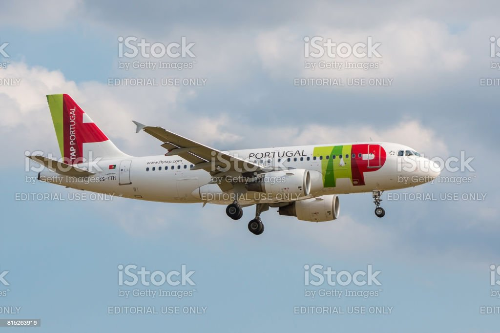 Flytap airlines plane landing stock photo