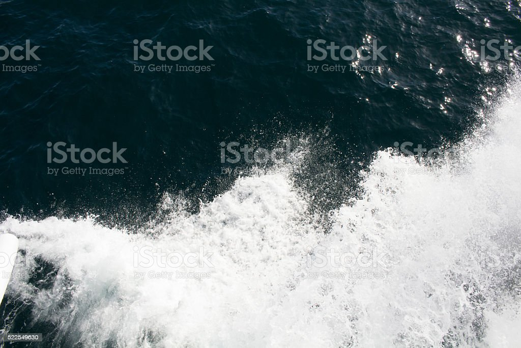 Foam and wave on Bosphorus in Istanbul stock photo