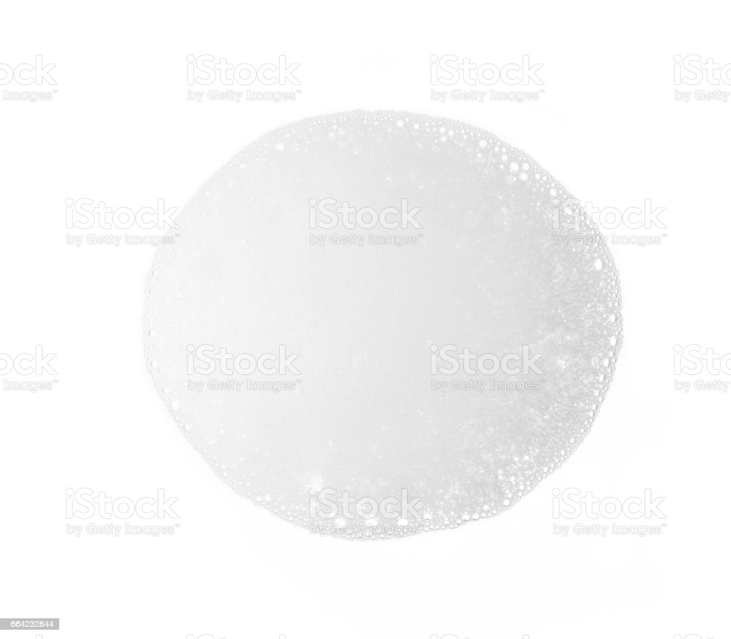 Foam bubble isolated on white background on top view stock photo
