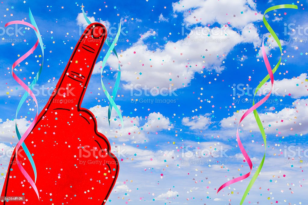 Foam Finger Sports Celebration with Confetti and Streamers stock photo