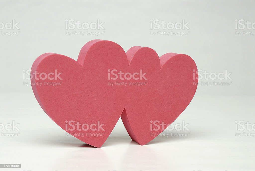 Foam Hearts Angled royalty-free stock photo