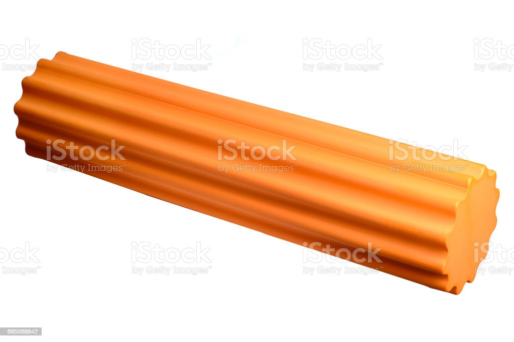 Foam Roller Gym Fitness Equipment Isolated on White Background f stock photo