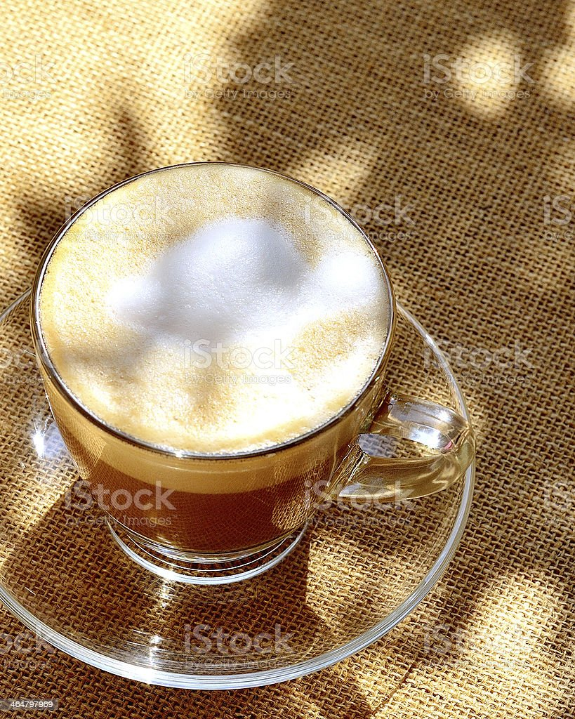 Foamed Coffee On Table From Above stock photo