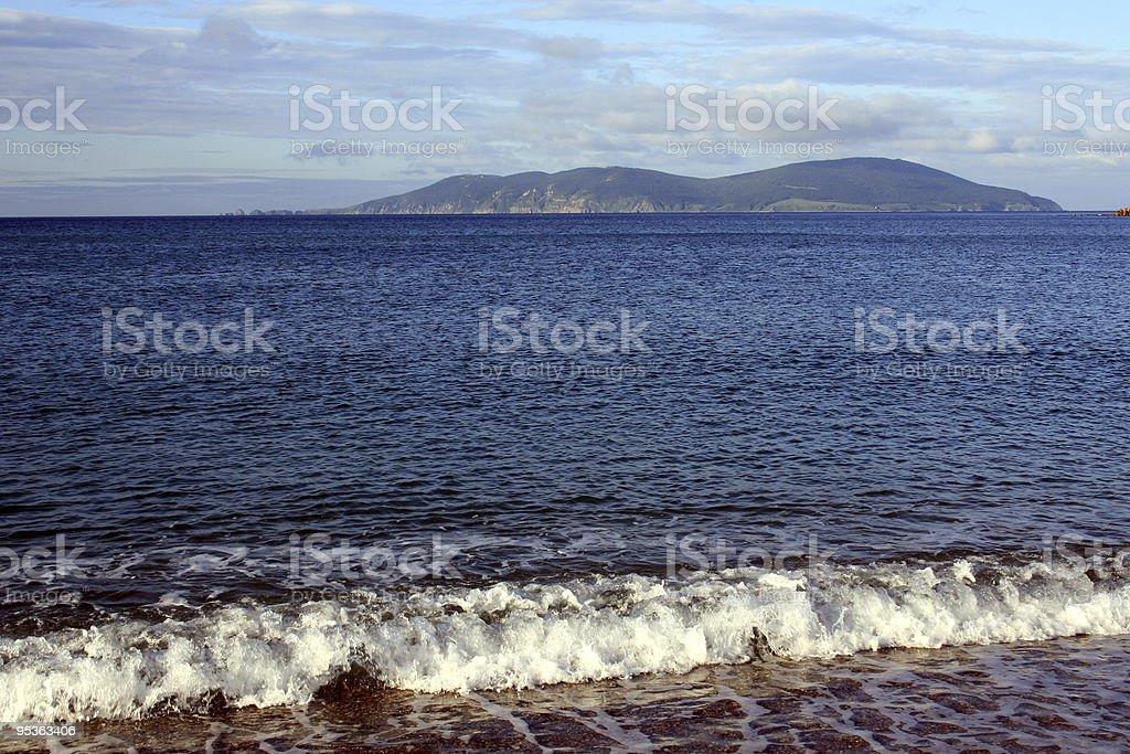 Foamy waves of the Japanese sea stock photo