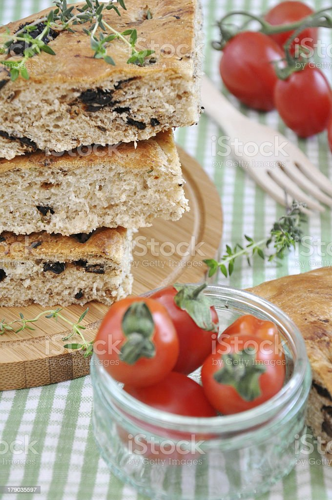 Focaccia Bread with onions royalty-free stock photo
