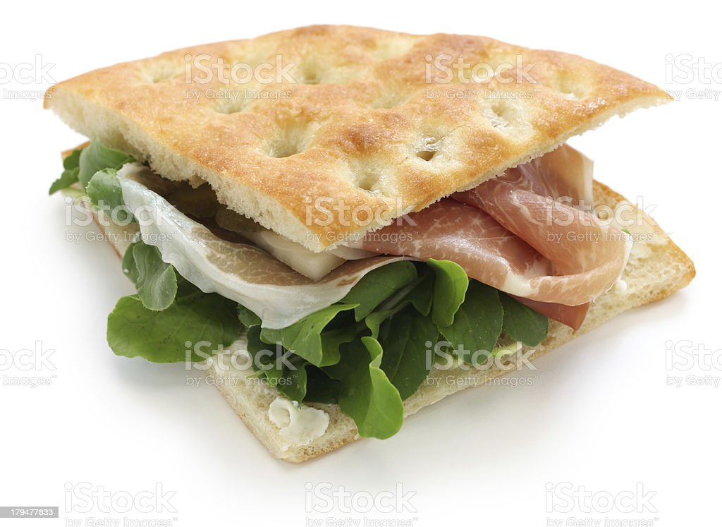 focaccia panino, italian sandwich stock photo