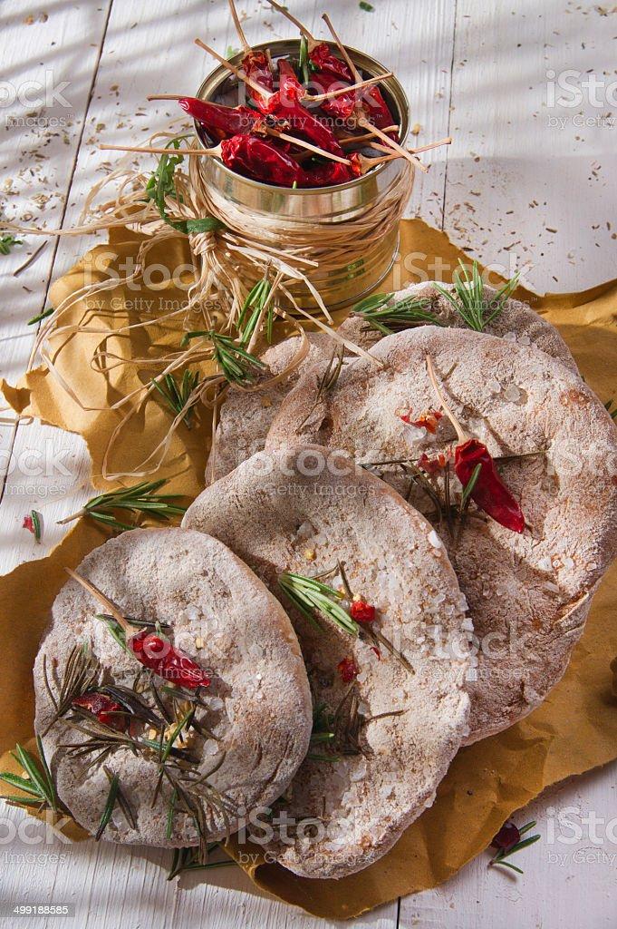 Focaccia wholemeal flour royalty-free stock photo