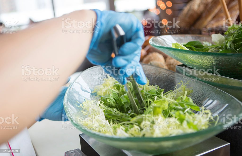 Focus hand holding tongs stock photo