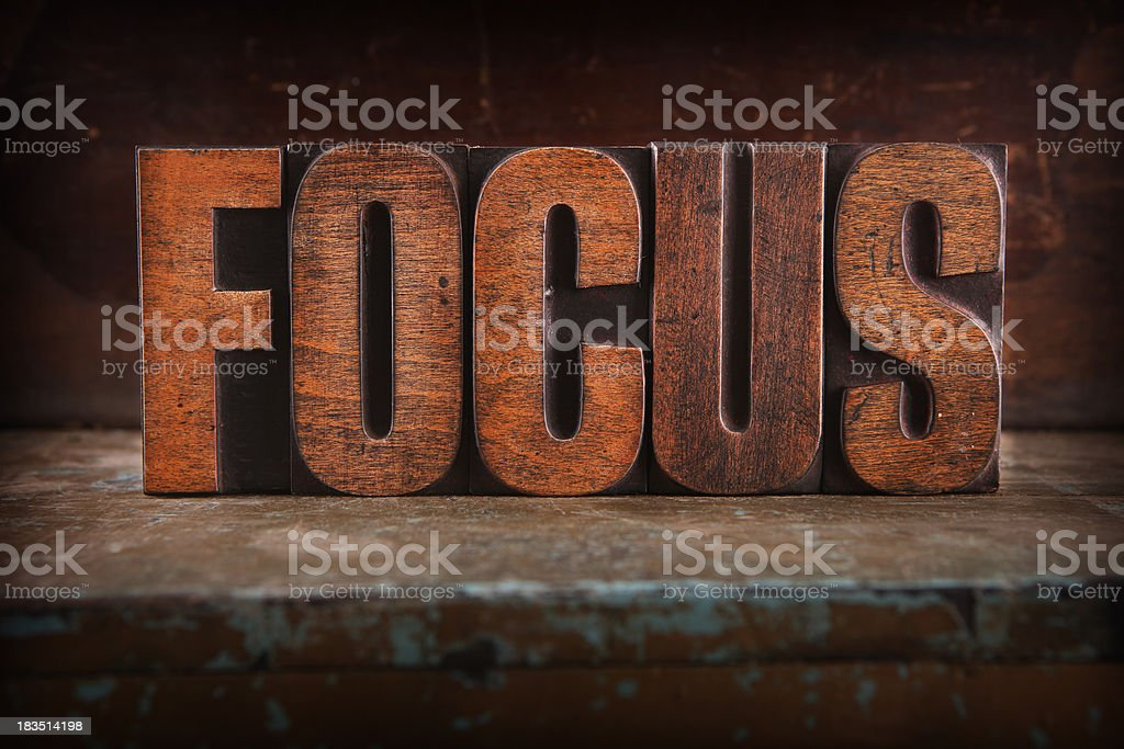Focus - Letterpress letters royalty-free stock photo