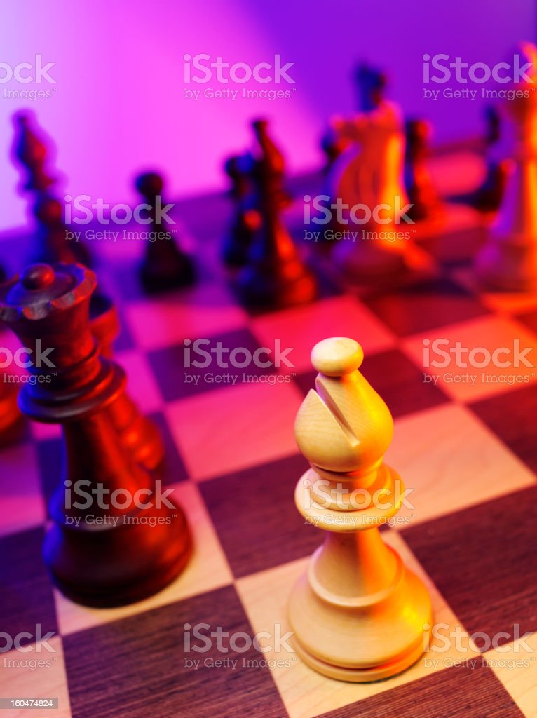 Focus on a Chess Bishop stock photo