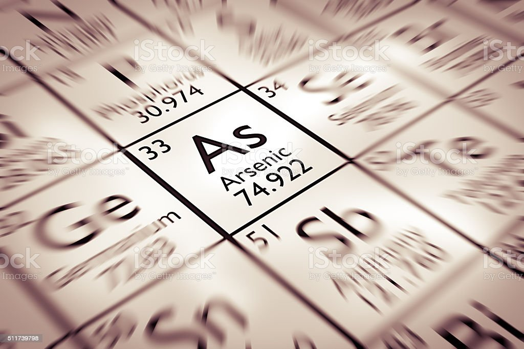 Focus on Arsenic Chemical Element from the Mendeleev periodic table stock photo