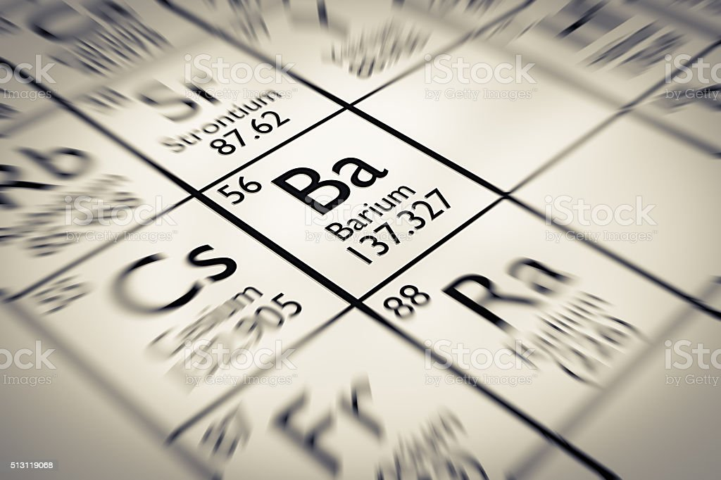 Focus on Barium Chemical Element from the Mendeleev periodic table stock photo