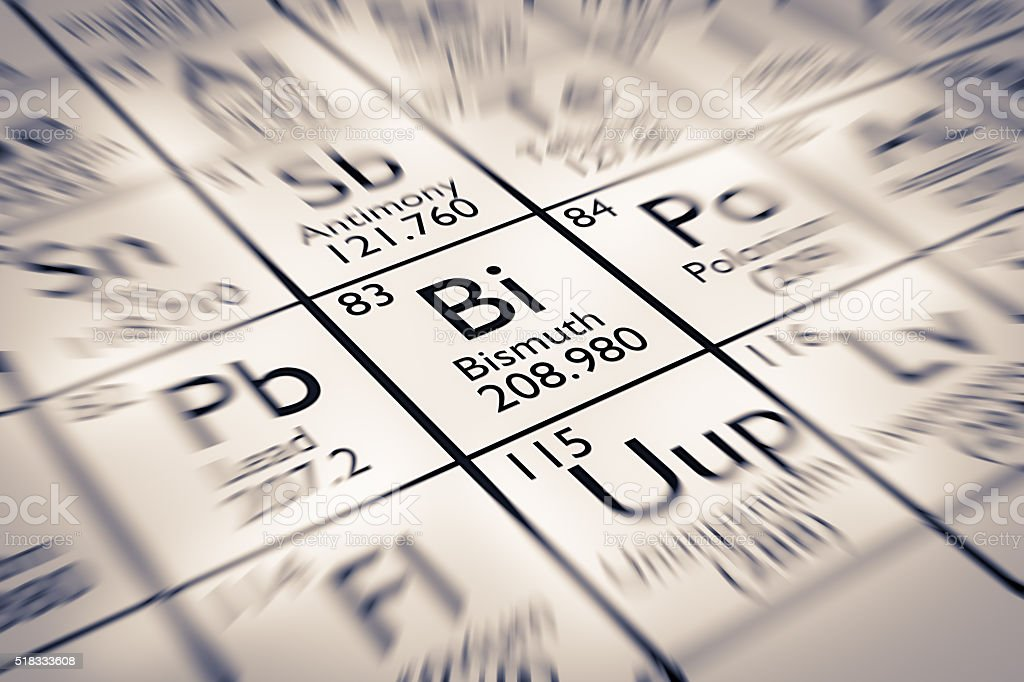 Focus on Bismuth Chemical Element from the Mendeleev Periodic Table stock photo