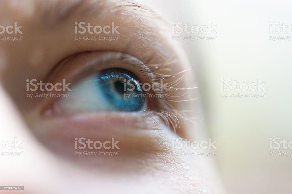 Focus on blue eyes stock photo