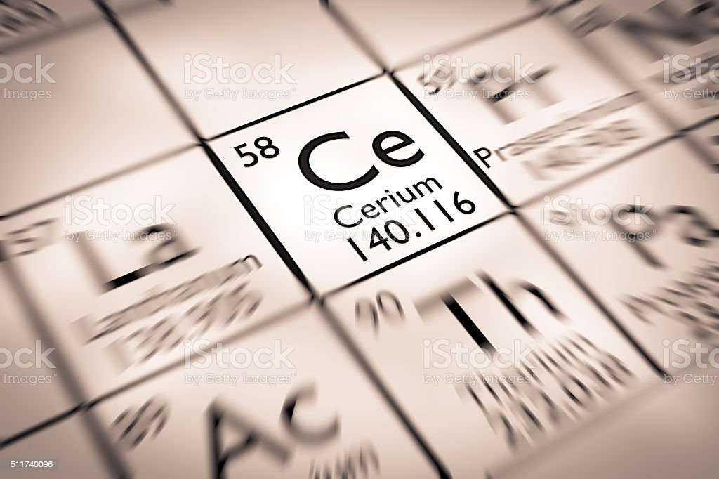 Focus on Cerium chemical Element from the Mendeleev periodic table stock photo