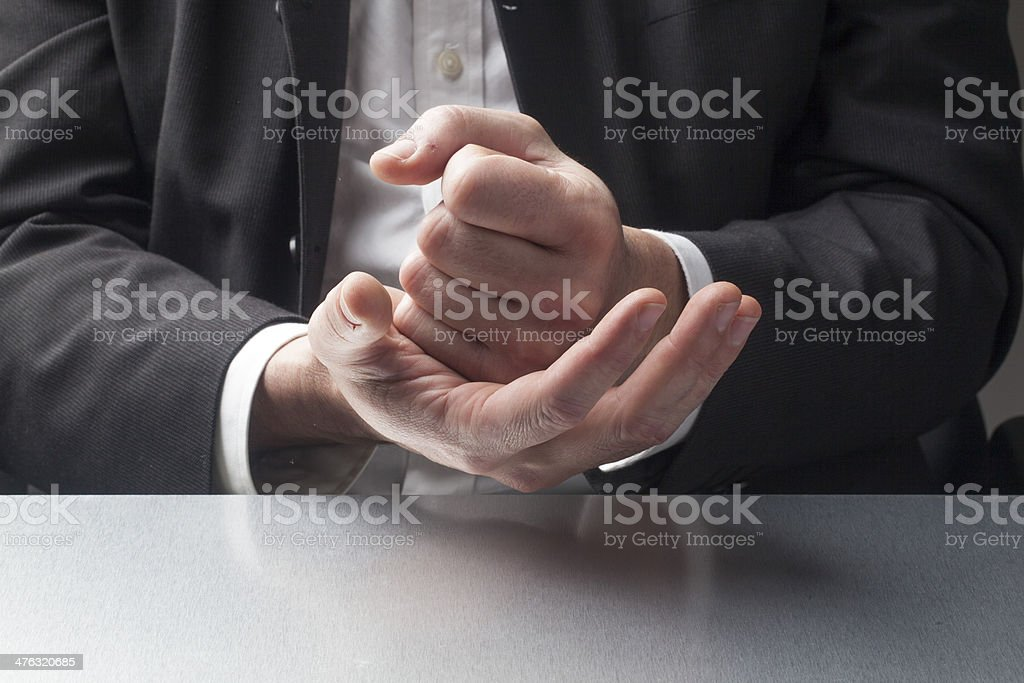 focus on convincing gestures stock photo