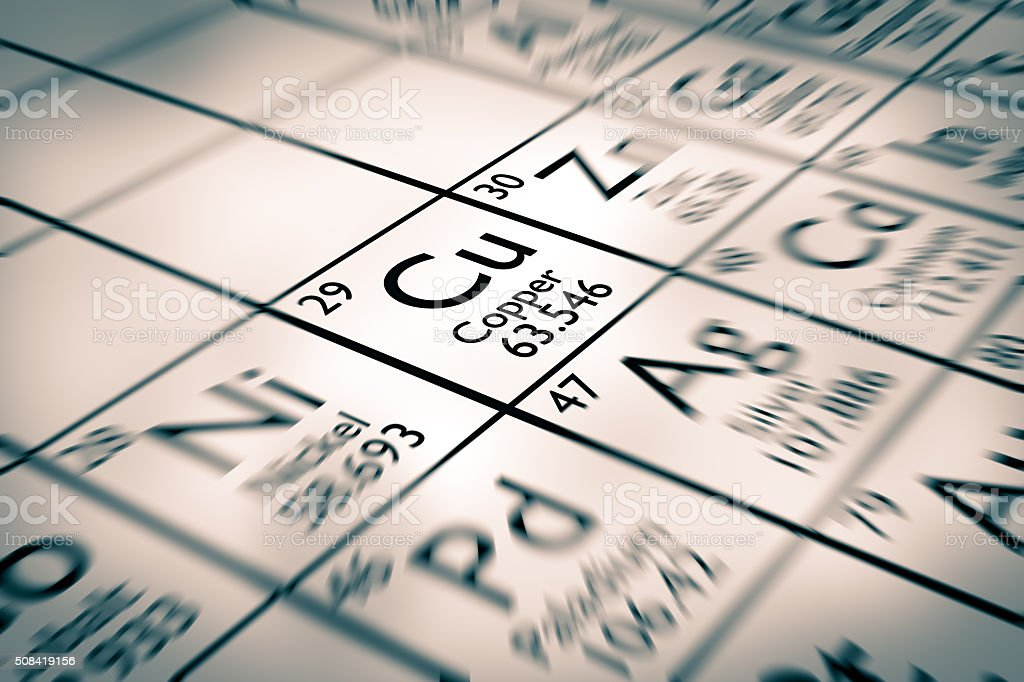 Focus on copper chemical elements stock photo