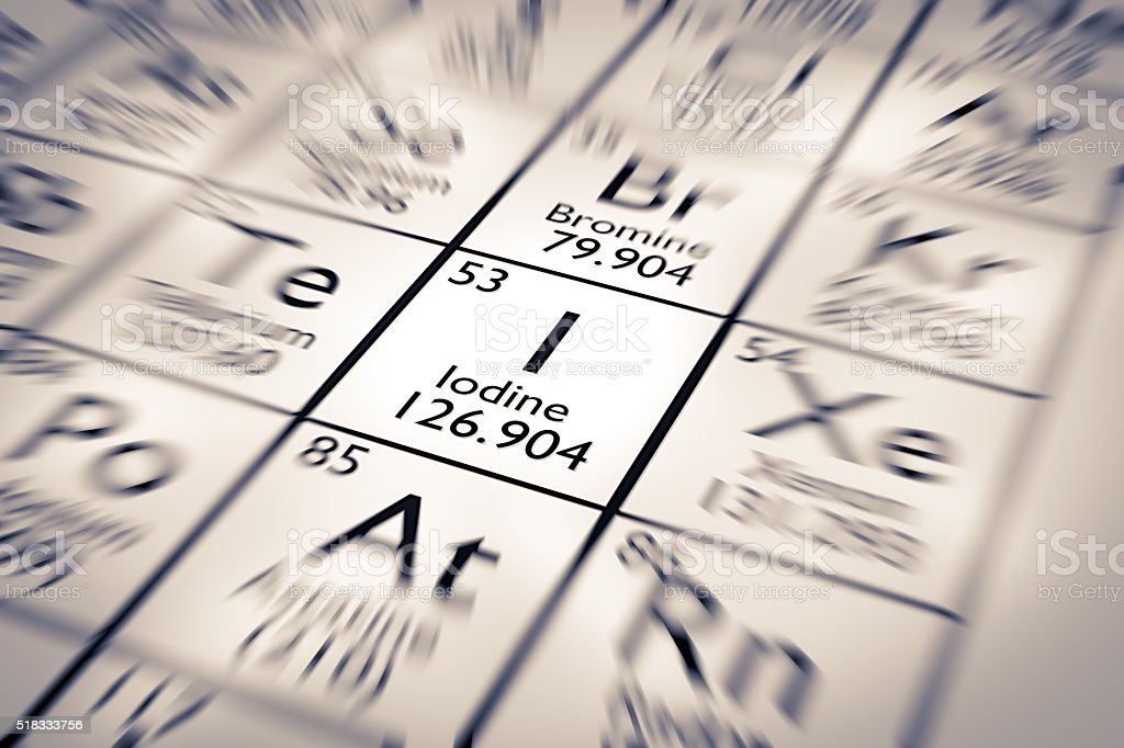 Focus on Iodine Chemical Element from the Mendeleev Periodic Table stock photo