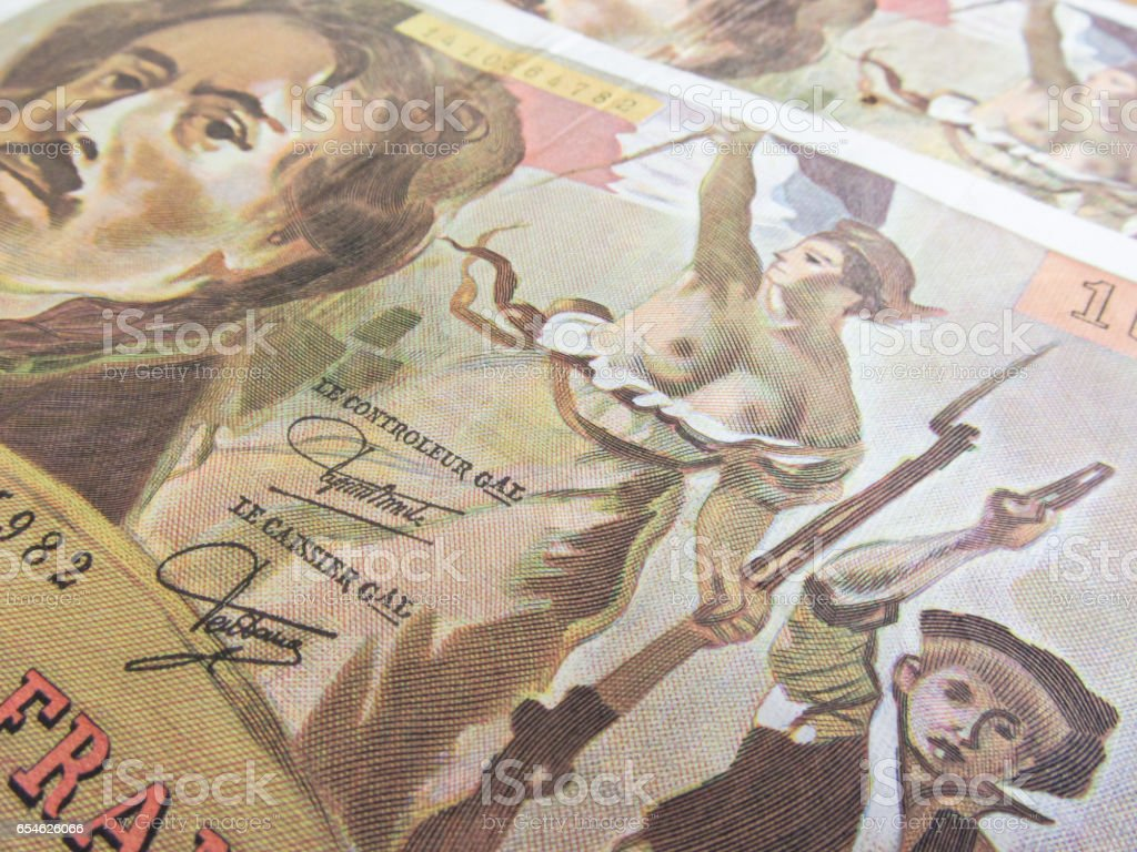 focus on Marianne over one hundred francs banknote stock photo