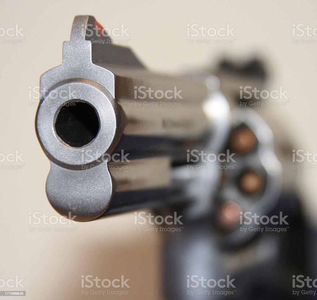 Focus on muzzle of handgun stock photo
