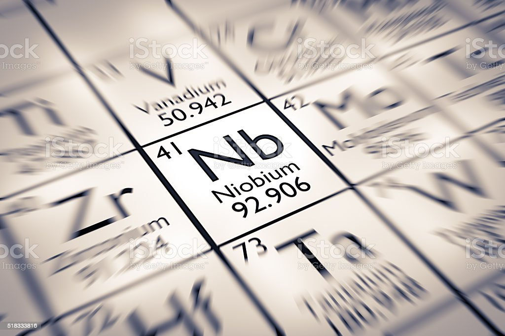 Focus on Niobium Chemical Element from the Mendeleev Periodic Table stock photo