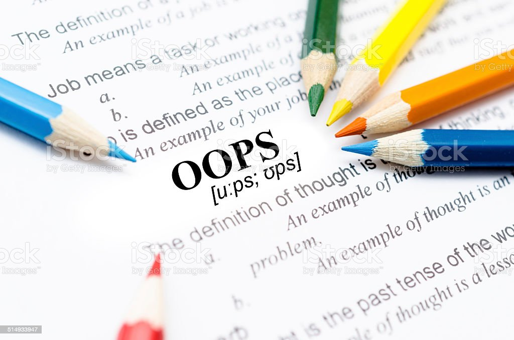 focus on oops stock photo