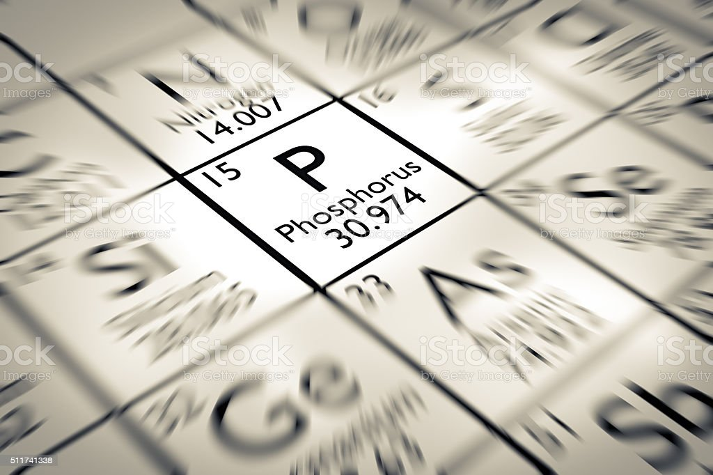 Focus on Phosphorus chemical Element from the Mendeleev periodic table stock photo