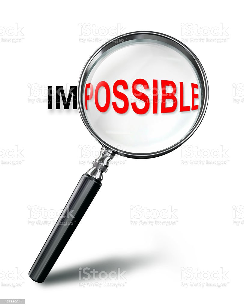 focus on possible red word concept with magnifying glass stock photo