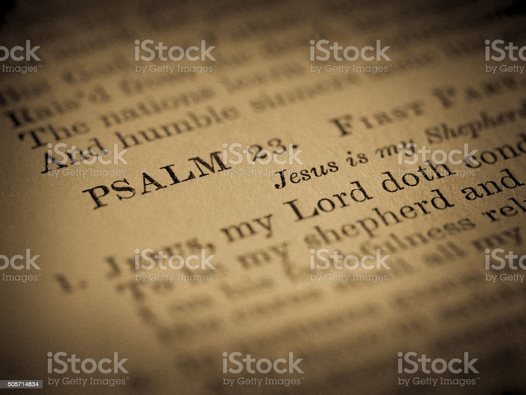 Focus on PSALM 23: Title in Antique Hymnal stock photo