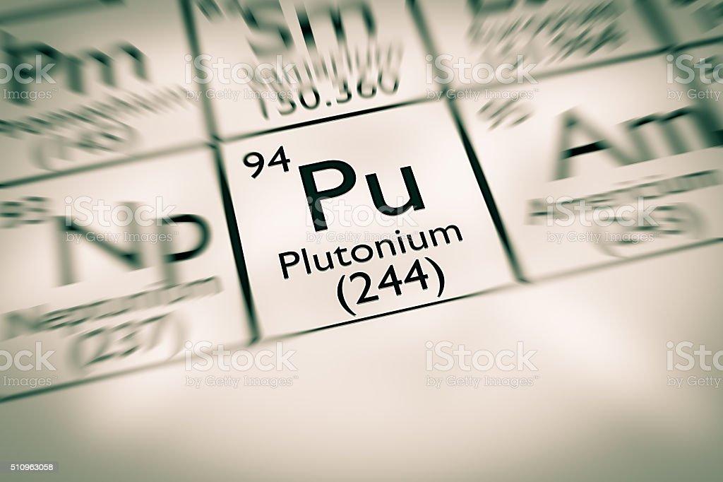 Focus on radioactive Plutonium chemical element stock photo