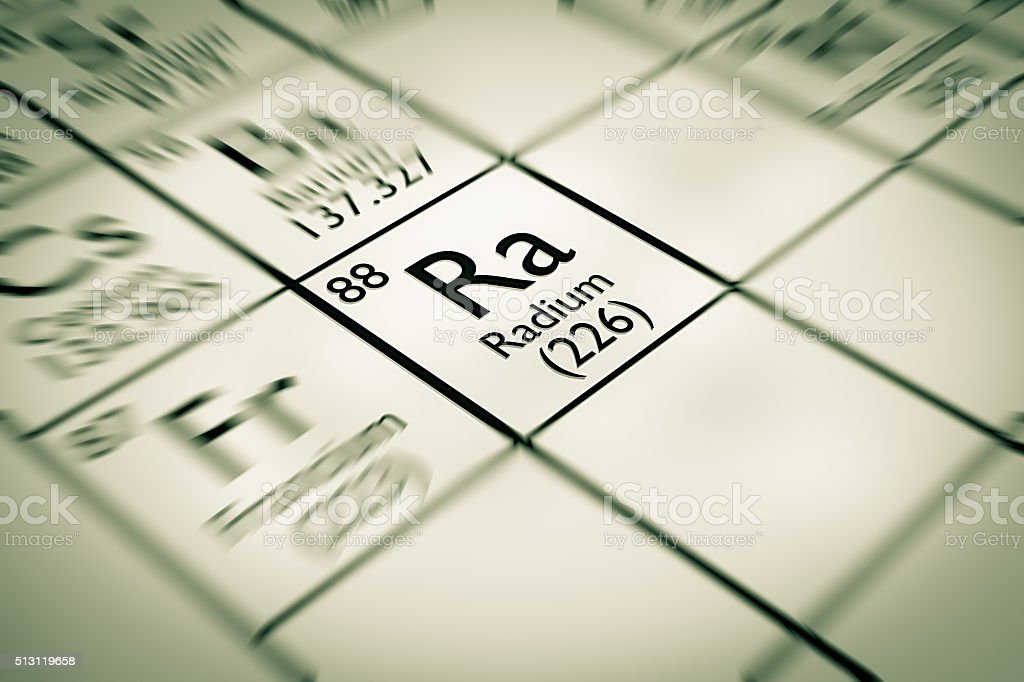 Focus on Radium Chemical Element from the Mendeleev periodic table stock photo
