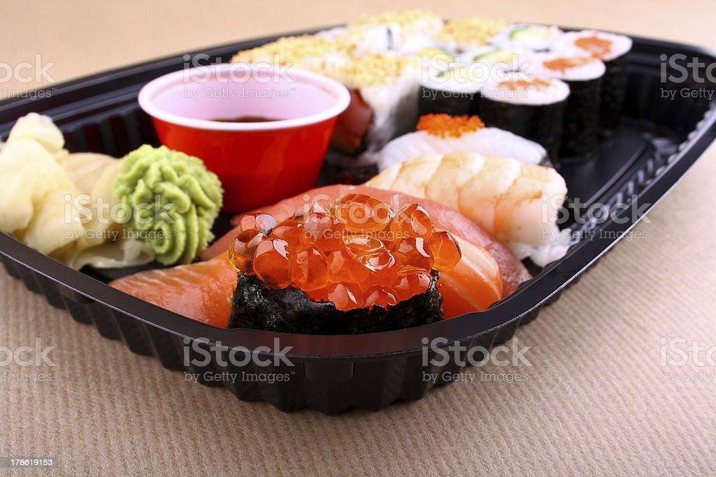 Focus on special ikura sushi menu royalty-free stock photo
