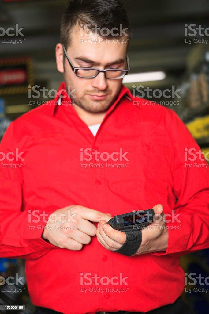 Focus on Stocktaking Machine Hardware Store royalty-free stock photo