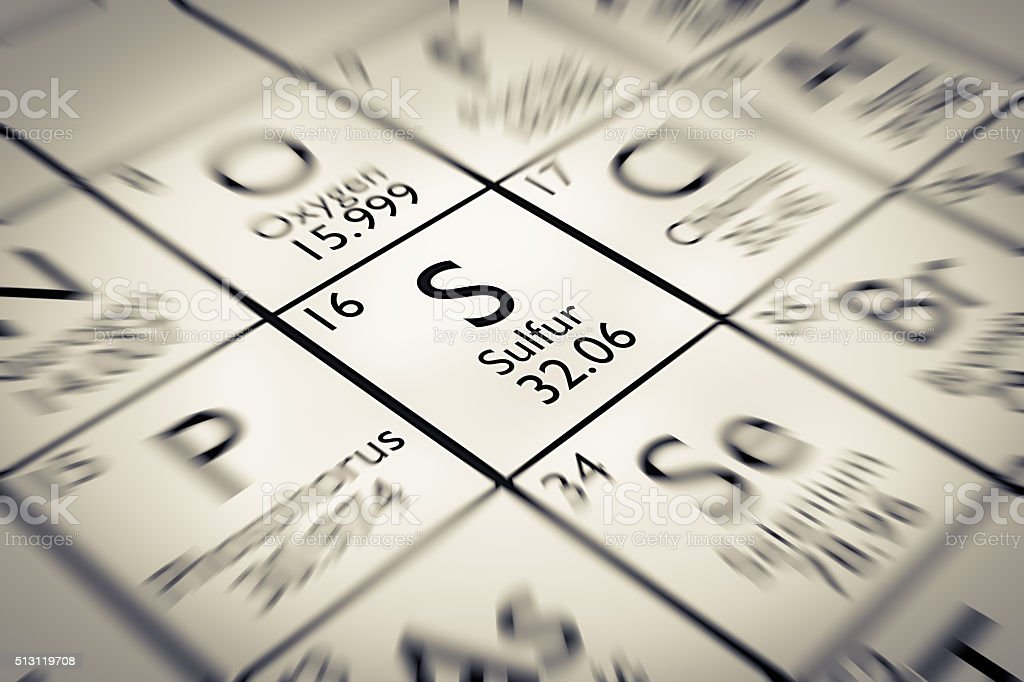 Focus on Sulfur Chemical Element from the Mendeleev periodic table stock photo