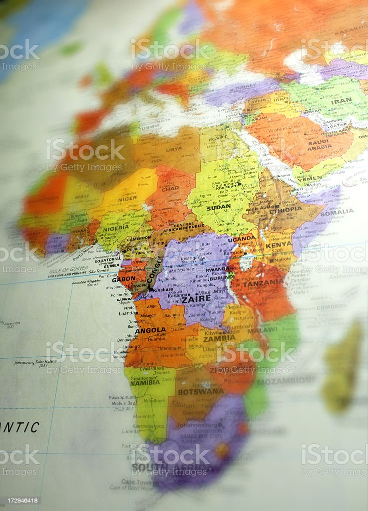 A focus on the continent of Africa on a globe royalty-free stock photo