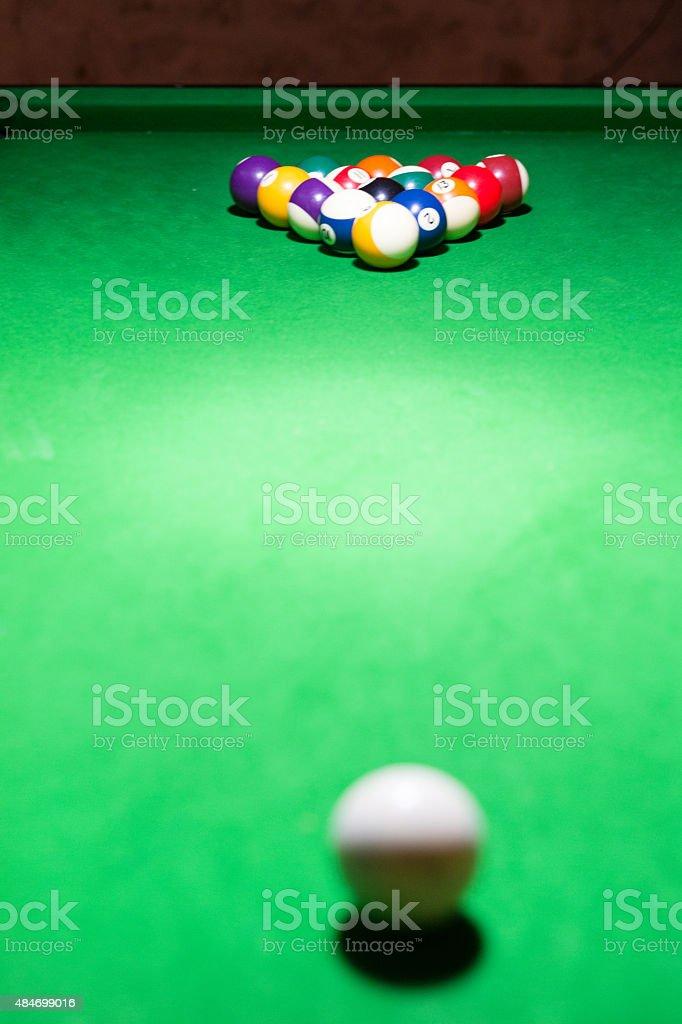 Focus on the snooker ball stock photo