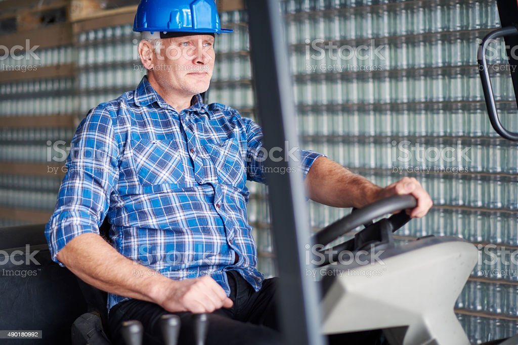 Focus on work at the factory stock photo