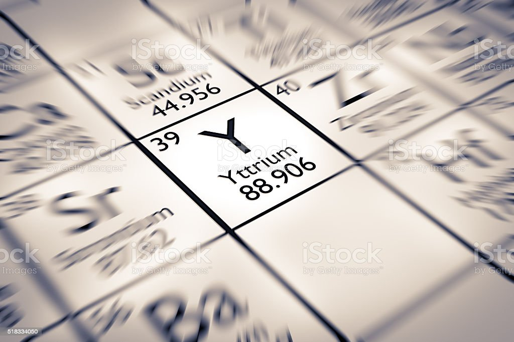 Focus on Yttrium Chemical Element from the Mendeleev Periodic Table stock photo